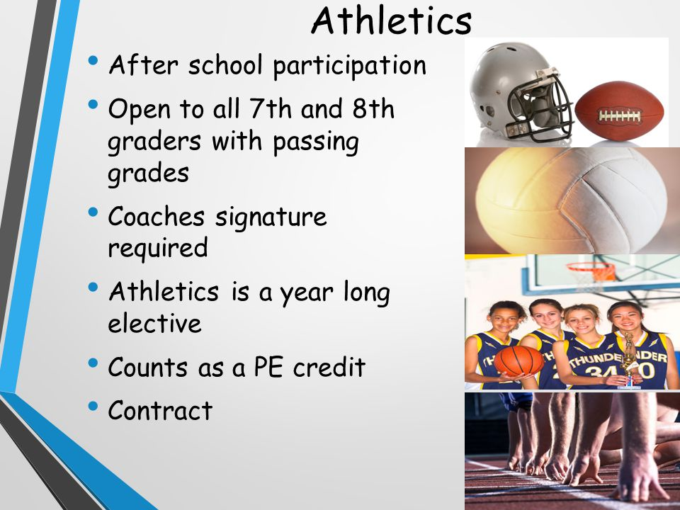Athletics After school participation Open to all 7th and 8th graders with passing grades Coaches signature required Athletics is a year long elective Counts as a PE credit Contract