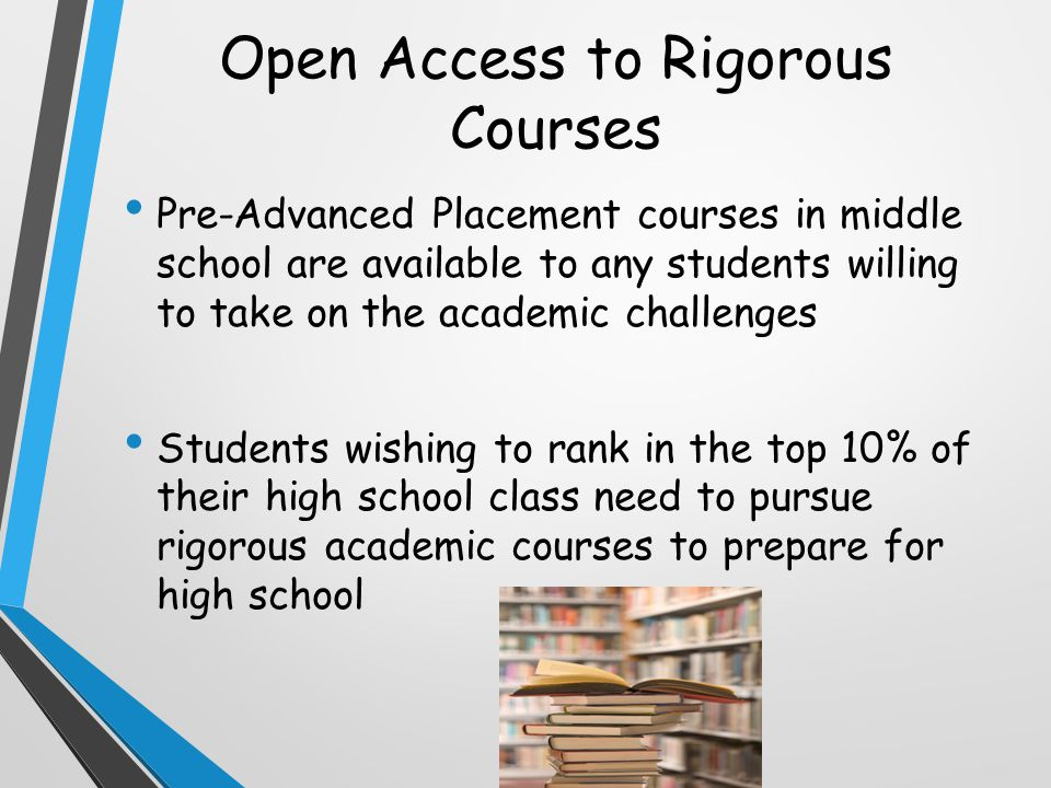 Open Access to Rigorous Courses Pre-Advanced Placement courses in middle school are available to any students willing to take on the academic challenges Students wishing to rank in the top 10% of their high school class need to pursue rigorous academic courses to prepare for high school