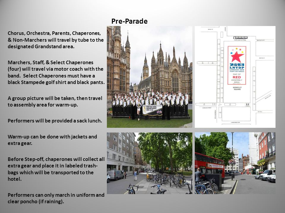 Pre-Parade Chorus, Orchestra, Parents, Chaperones, & Non-Marchers will travel by tube to the designated Grandstand area.