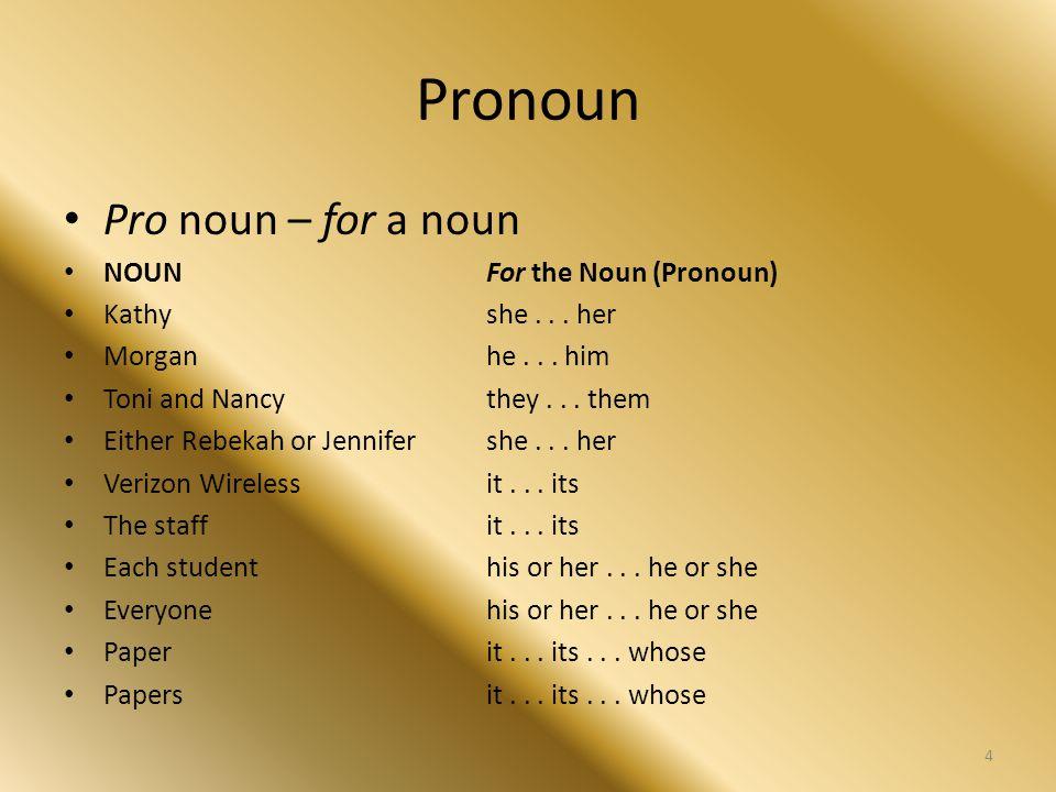Pronoun Pro noun – for a noun NOUNFor the Noun (Pronoun) Kathyshe... her Morganhe... him Toni and Nancythey... them Either Rebekah or Jennifershe... h
