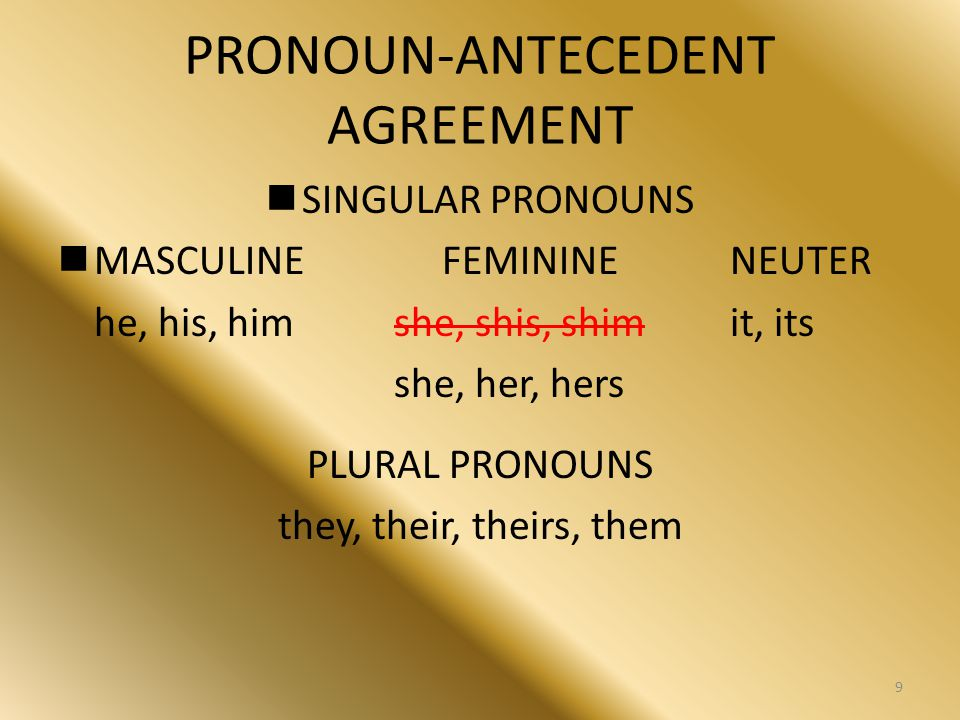 PRONOUN-ANTECEDENT AGREEMENT SINGULAR PRONOUNS MASCULINEFEMININENEUTER he, his, him she, shis, shimit, its she, her, hers PLURAL PRONOUNS they, their,
