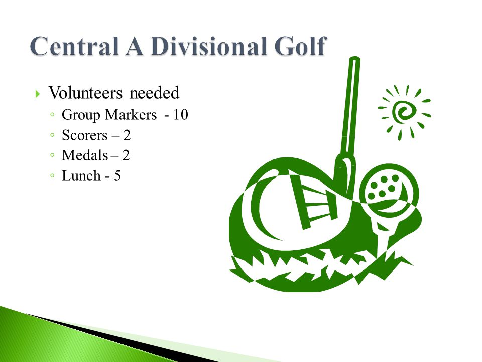  Volunteers needed ◦ Group Markers - 10 ◦ Scorers – 2 ◦ Medals – 2 ◦ Lunch - 5