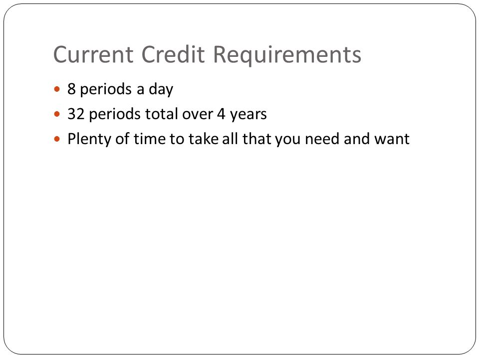 Current Credit Requirements 8 periods a day 32 periods total over 4 years Plenty of time to take all that you need and want