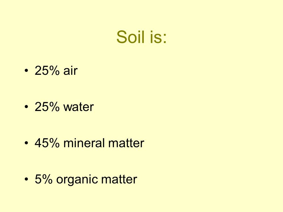 Soil is: 25% air 25% water 45% mineral matter 5% organic matter