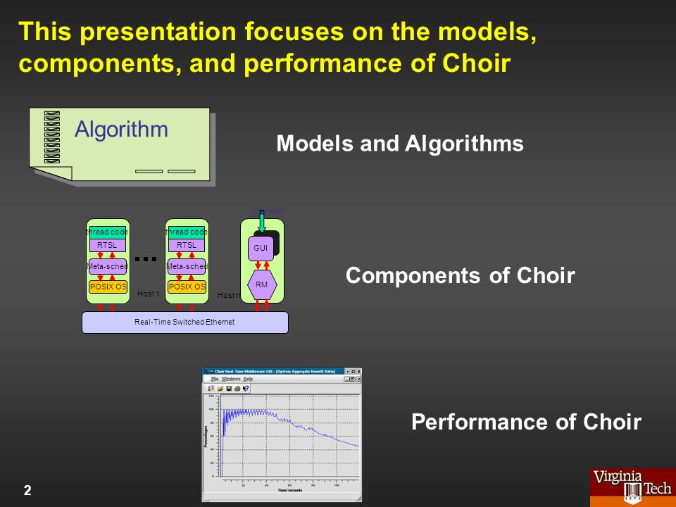 This presentation focuses on the models, components, and performance of Choir Algorithm Models and Algorithms Real-Time Switched Ethernet RM GUI User input Host 1 Host n Meta-sched POSIX OS thread code RTSL Meta-sched POSIX OS thread code RTSL Components of Choir Performance of Choir 2