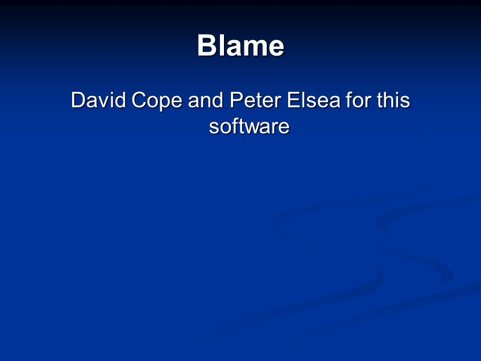 Blame David Cope and Peter Elsea for this software