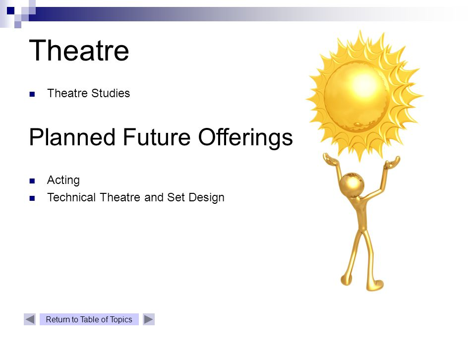 Return to Table of Topics Theatre Theatre Studies Planned Future Offerings Acting Technical Theatre and Set Design