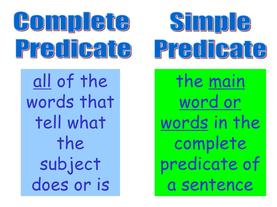all of the words that tell what the subject does or is the main word or words in the complete predicate of a sentence