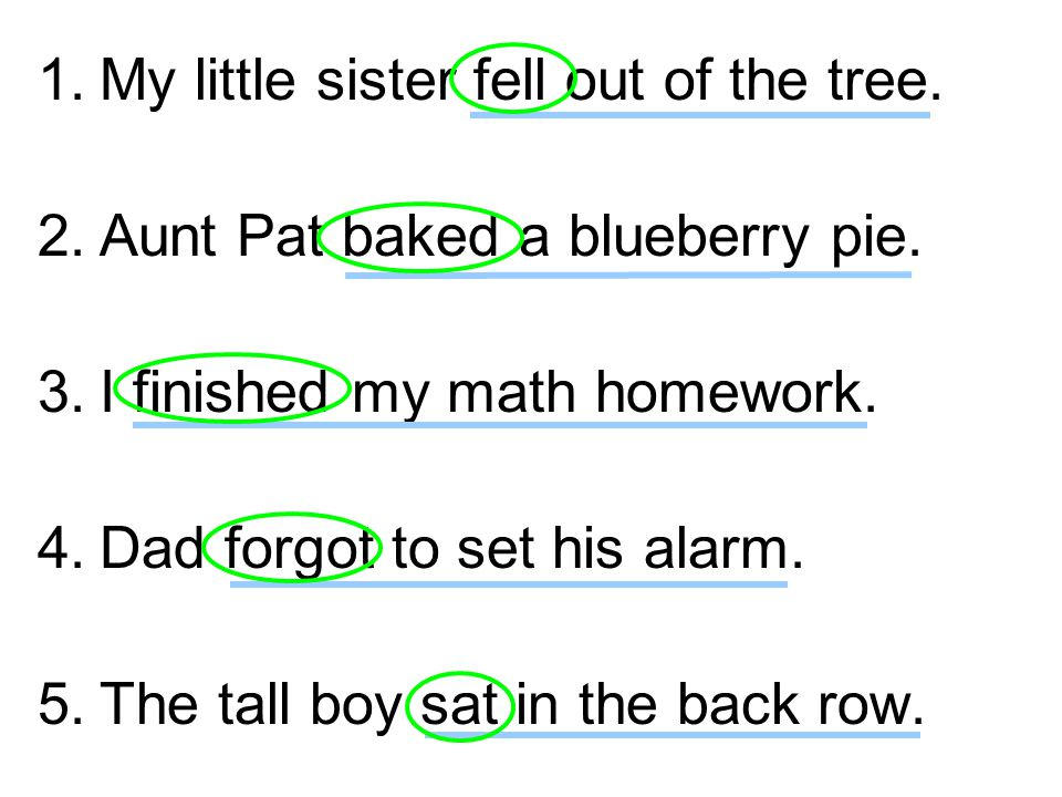 1.My little sister fell out of the tree. 2.Aunt Pat baked a blueberry pie.
