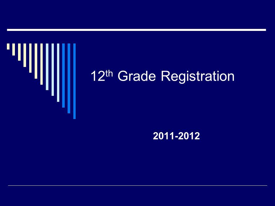 12 th Grade Registration 2011-2012