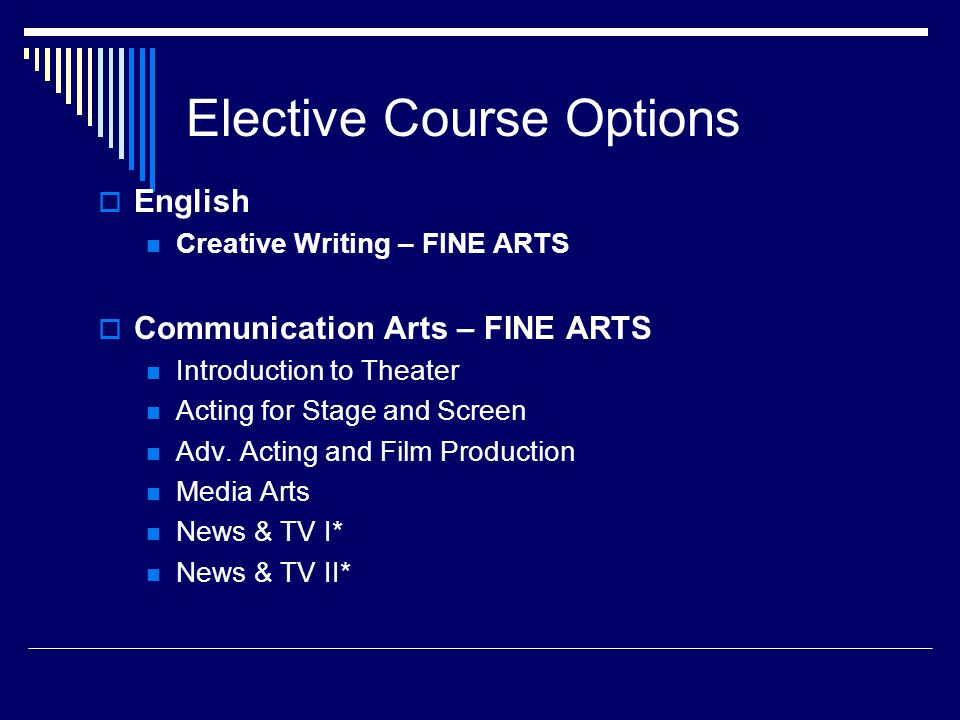 Elective Course Options  English Creative Writing – FINE ARTS  Communication Arts – FINE ARTS Introduction to Theater Acting for Stage and Screen Adv.