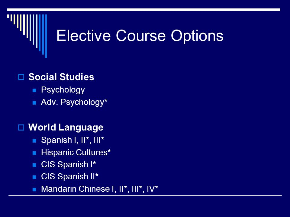Elective Course Options  Social Studies Psychology Adv.