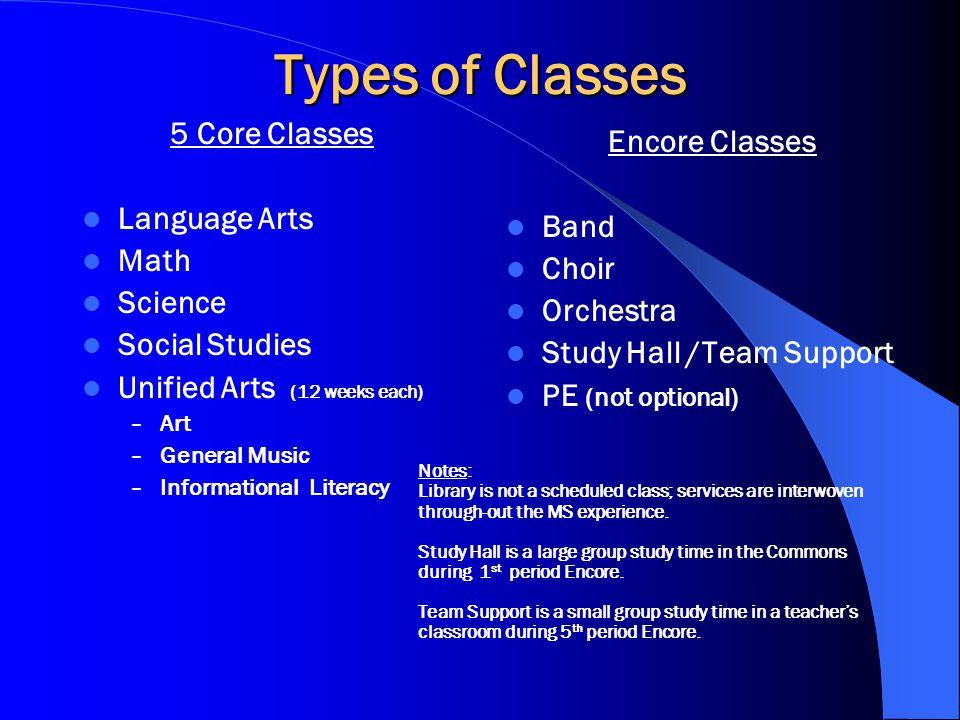 Sixth Grade Schedule PeriodType of Class / Length 1Encore (40) 2Core (50) 3 4Lunch (30) 5Encore (40) 6Core (50) 7 8 Advisory/ Focus / RTI30
