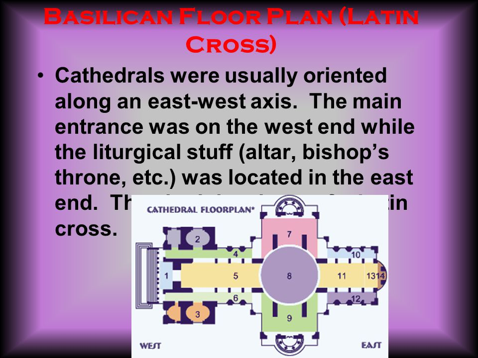 Basilican Floor Plan (Latin Cross) Cathedrals were usually oriented along an east-west axis.