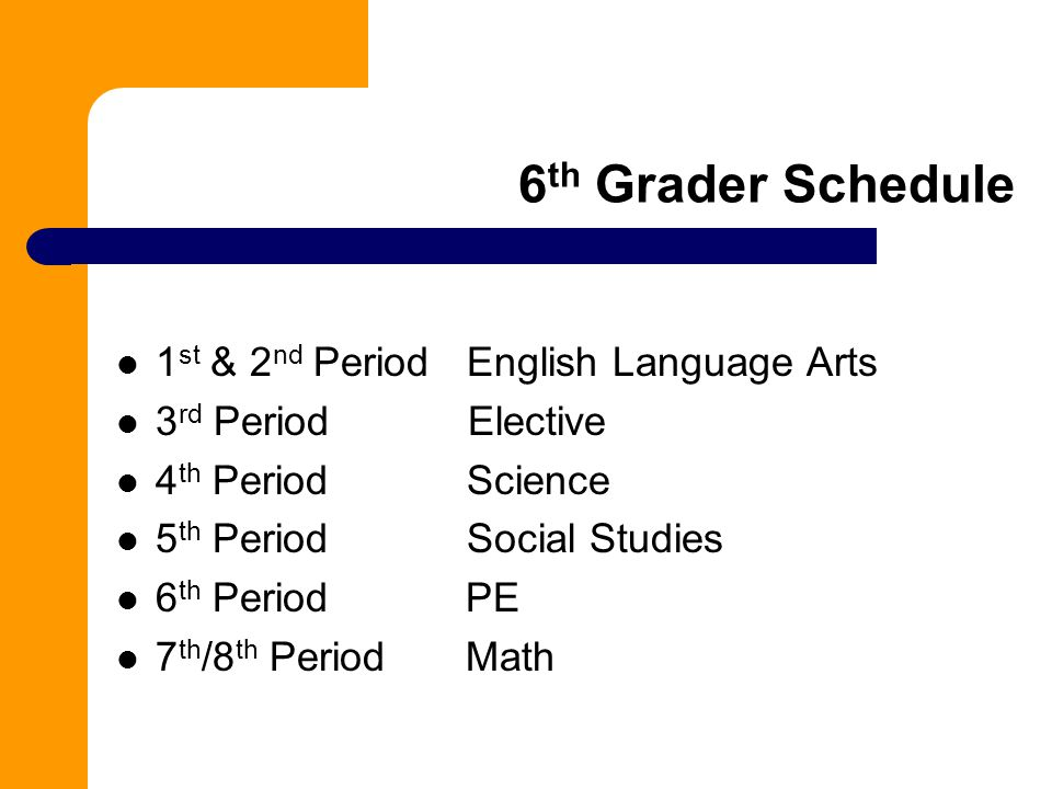 6 th Grader Schedule 1 st & 2 nd Period English Language Arts 3 rd Period Elective 4 th Period Science 5 th Period Social Studies 6 th Period PE 7 th /8 th Period Math