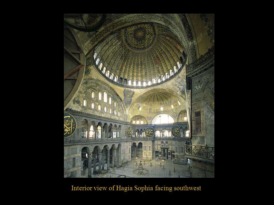 Interior view of Hagia Sophia facing southwest