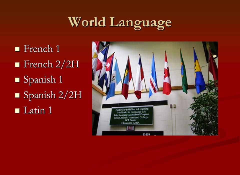 World Language French 1 French 1 French 2/2H French 2/2H Spanish 1 Spanish 1 Spanish 2/2H Spanish 2/2H Latin 1 Latin 1
