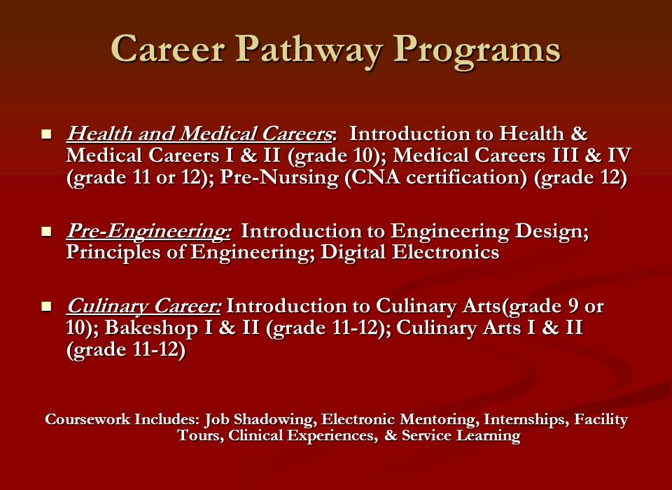 Career Pathway Programs Health and Medical Careers: Introduction to Health & Medical Careers I & II (grade 10); Medical Careers III & IV (grade 11 or 12); Pre-Nursing (CNA certification) (grade 12) Health and Medical Careers: Introduction to Health & Medical Careers I & II (grade 10); Medical Careers III & IV (grade 11 or 12); Pre-Nursing (CNA certification) (grade 12) Pre-Engineering: Introduction to Engineering Design; Principles of Engineering; Digital Electronics Pre-Engineering: Introduction to Engineering Design; Principles of Engineering; Digital Electronics Culinary Career: Introduction to Culinary Arts(grade 9 or 10); Bakeshop I & II (grade 11-12); Culinary Arts I & II (grade 11-12) Culinary Career: Introduction to Culinary Arts(grade 9 or 10); Bakeshop I & II (grade 11-12); Culinary Arts I & II (grade 11-12) Coursework Includes: Job Shadowing, Electronic Mentoring, Internships, Facility Tours, Clinical Experiences, & Service Learning