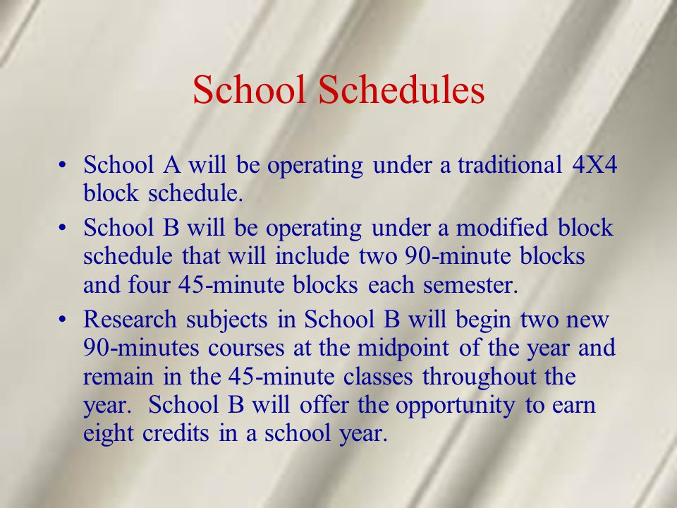 School Schedules School A will be operating under a traditional 4X4 block schedule. School B will be operating under a modified block schedule that wi