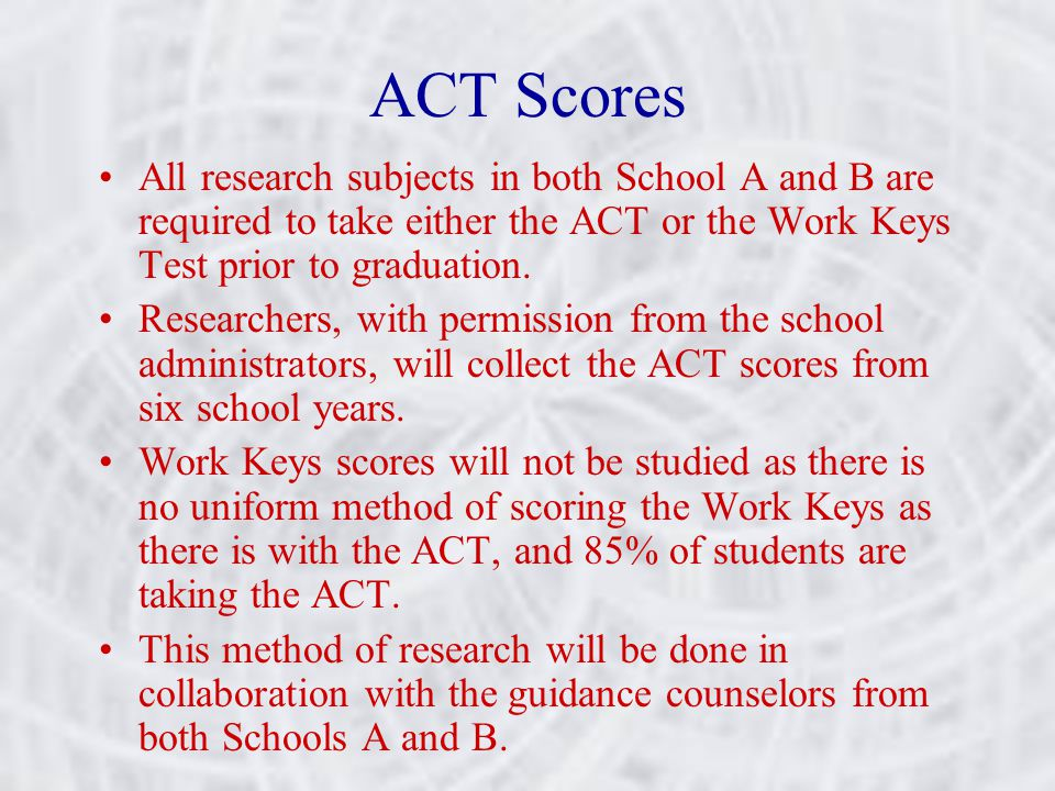 ACT Scores All research subjects in both School A and B are required to take either the ACT or the Work Keys Test prior to graduation. Researchers, wi