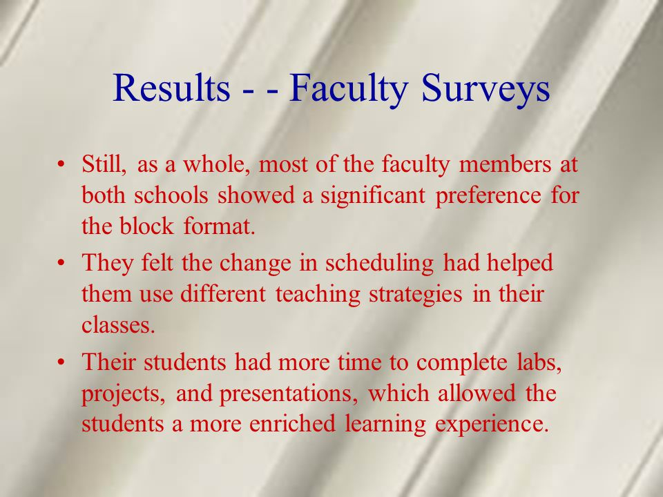 Results - - Faculty Surveys Still, as a whole, most of the faculty members at both schools showed a significant preference for the block format. They