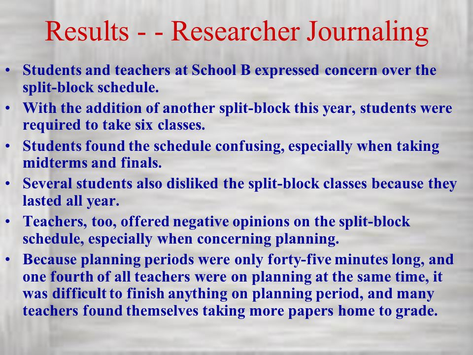 Results - - Researcher Journaling Students and teachers at School B expressed concern over the split-block schedule. With the addition of another spli