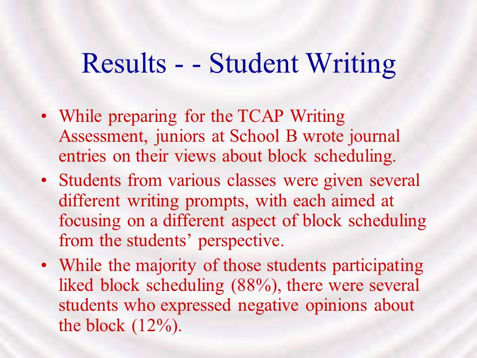 Results - - Student Writing While preparing for the TCAP Writing Assessment, juniors at School B wrote journal entries on their views about block sche