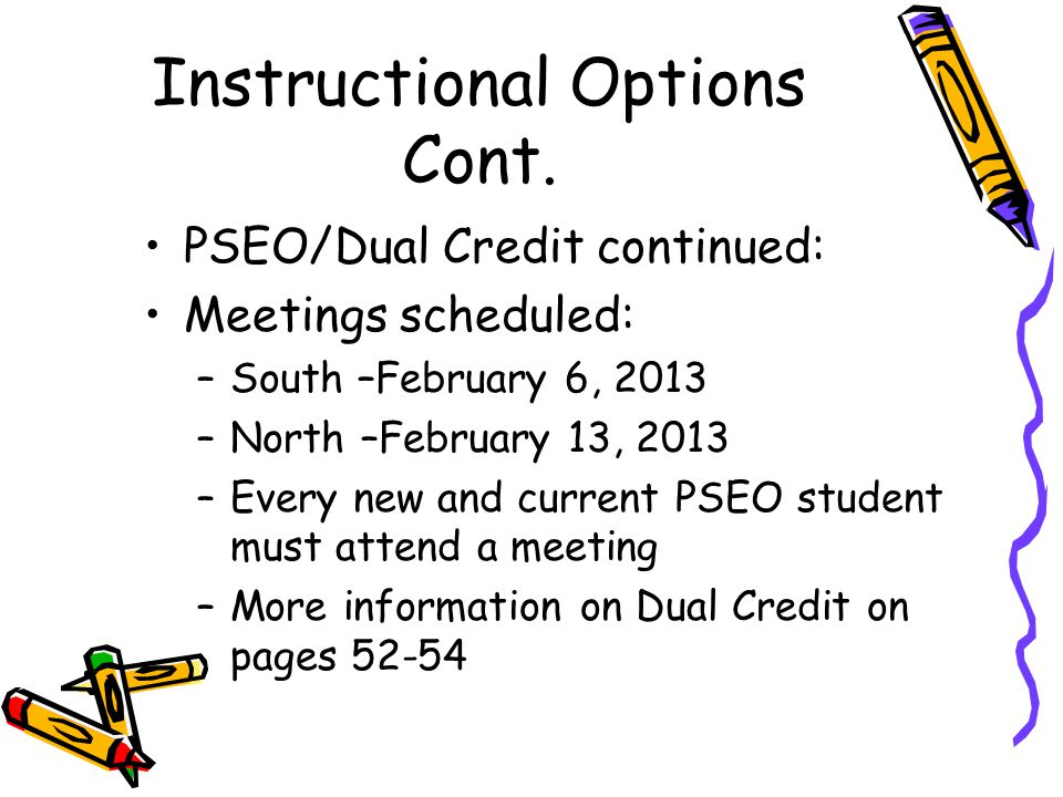 Instructional Options Cont.