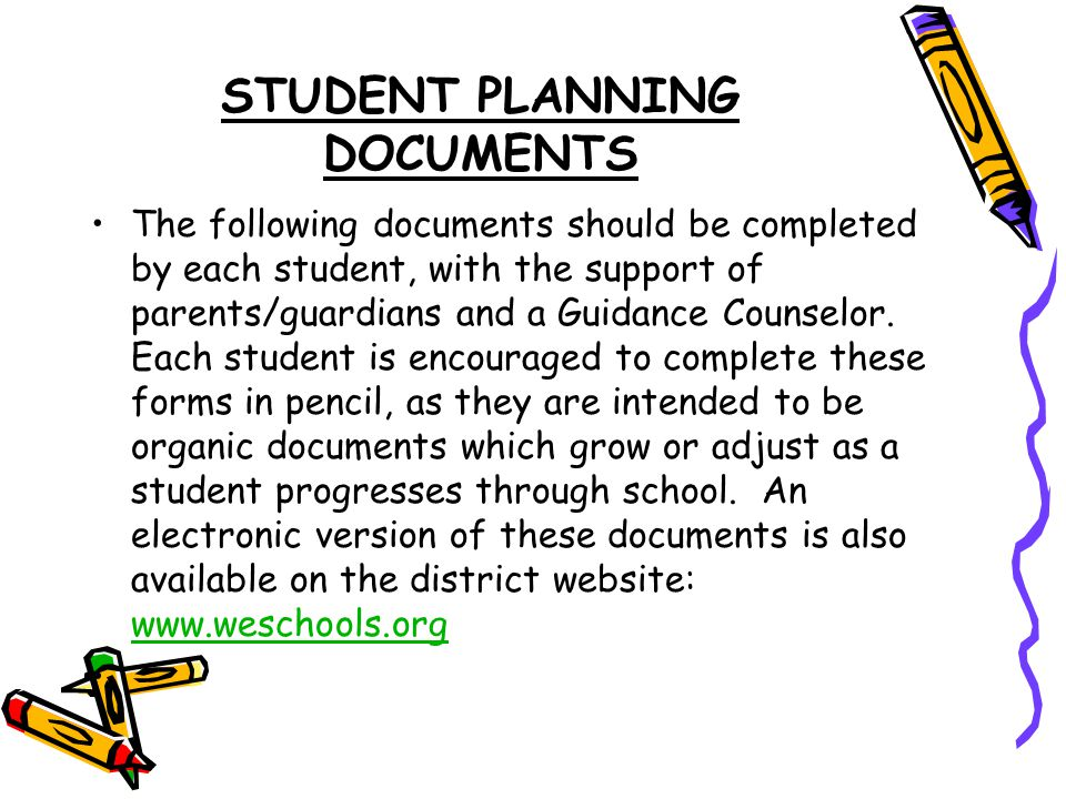STUDENT PLANNING DOCUMENTS The following documents should be completed by each student, with the support of parents/guardians and a Guidance Counselor.