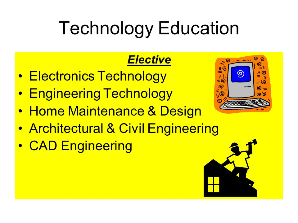Technology Education Elective Electronics Technology Engineering Technology Home Maintenance & Design Architectural & Civil Engineering CAD Engineering