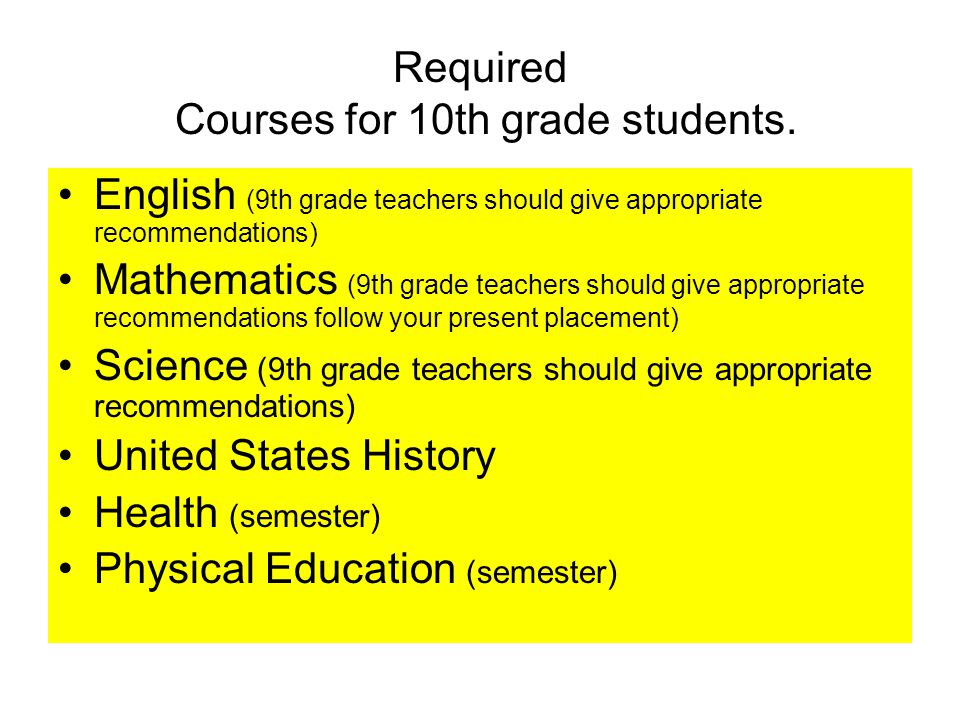 Required Courses for 10th grade students.