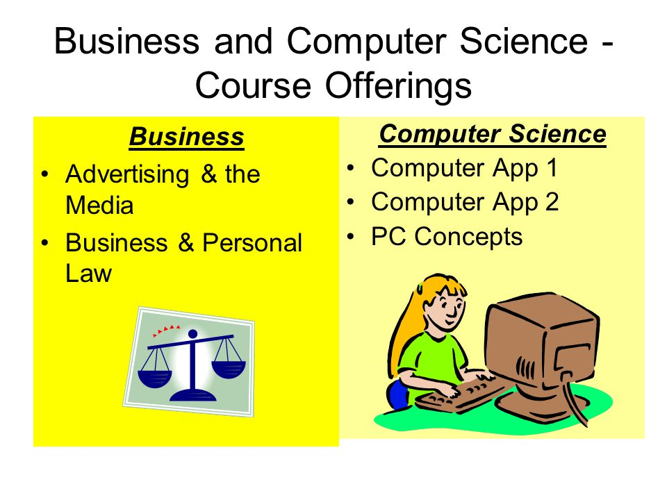 Business and Computer Science - Course Offerings Business Advertising & the Media Business & Personal Law Computer Science Computer App 1 Computer App 2 PC Concepts