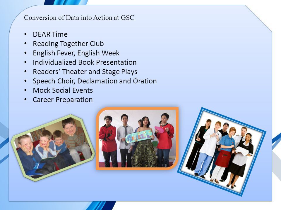 Conversion of Data into Action at GSC DEAR Time Reading Together Club English Fever, English Week Individualized Book Presentation Readers' Theater and Stage Plays Speech Choir, Declamation and Oration Mock Social Events Career Preparation
