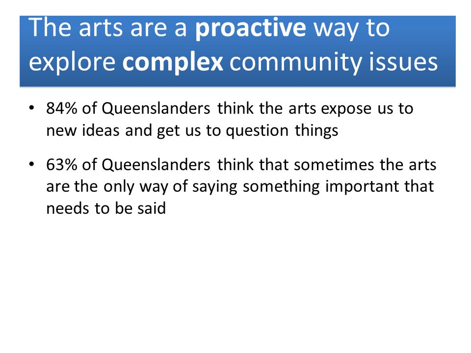 84% of Queenslanders think the arts expose us to new ideas and get us to question things 63% of Queenslanders think that sometimes the arts are the only way of saying something important that needs to be said