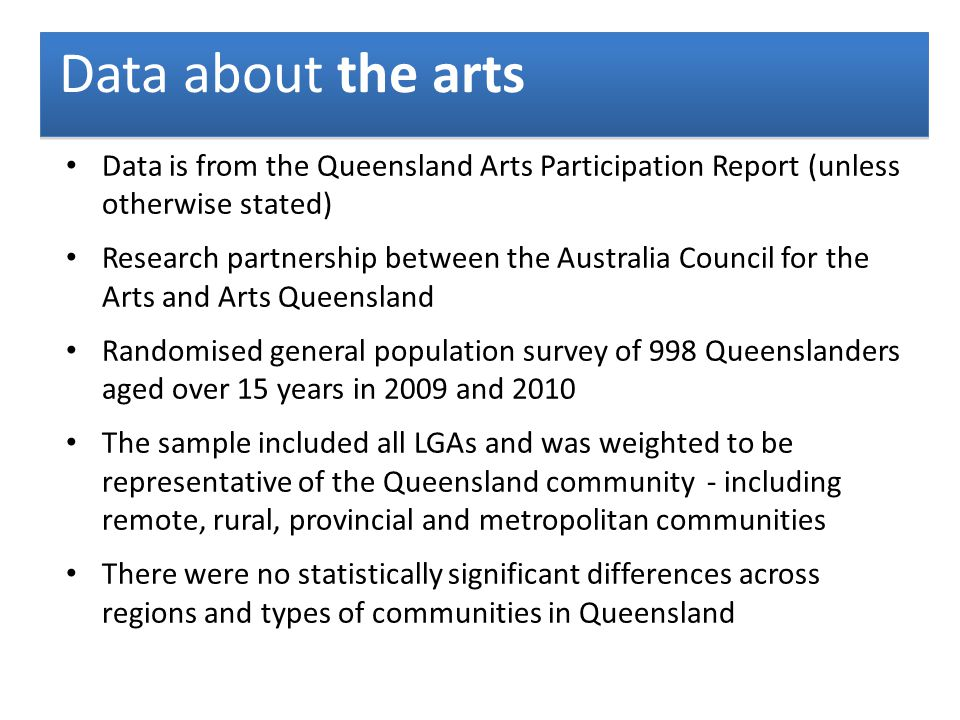 Data about the arts Data is from the Queensland Arts Participation Report (unless otherwise stated) Research partnership between the Australia Council for the Arts and Arts Queensland Randomised general population survey of 998 Queenslanders aged over 15 years in 2009 and 2010 The sample included all LGAs and was weighted to be representative of the Queensland community - including remote, rural, provincial and metropolitan communities There were no statistically significant differences across regions and types of communities in Queensland