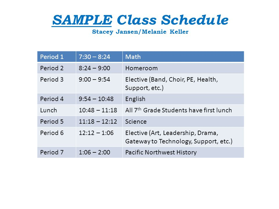 SAMPLE Class Schedule Stacey Jansen/Melanie Keller Period 17:30 – 8:24Math Period 28:24 – 9:00Homeroom Period 39:00 – 9:54Elective (Band, Choir, PE, Health, Support, etc.) Period 49:54 – 10:48English Lunch10:48 – 11:18All 7 th Grade Students have first lunch Period 511:18 – 12:12Science Period 612:12 – 1:06Elective (Art, Leadership, Drama, Gateway to Technology, Support, etc.) Period 71:06 – 2:00Pacific Northwest History