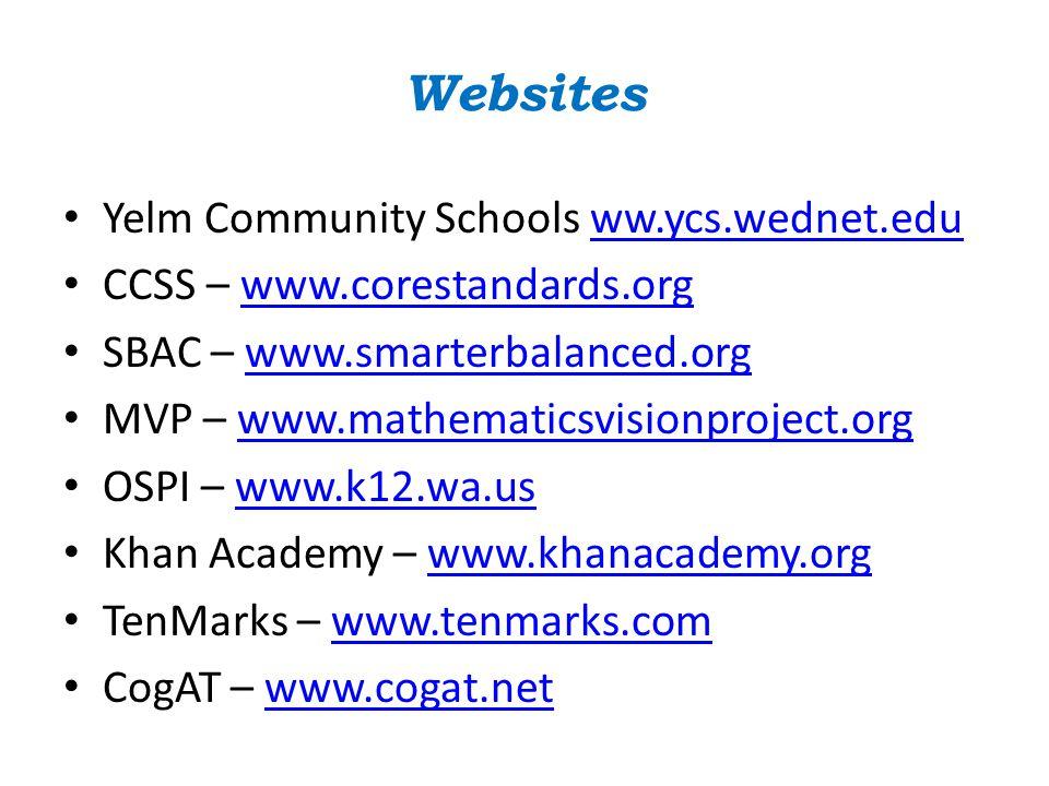 Websites Yelm Community Schools ww.ycs.wednet.eduww.ycs.wednet.edu CCSS – www.corestandards.orgwww.corestandards.org SBAC – www.smarterbalanced.orgwww.smarterbalanced.org MVP – www.mathematicsvisionproject.orgwww.mathematicsvisionproject.org OSPI – www.k12.wa.uswww.k12.wa.us Khan Academy – www.khanacademy.orgwww.khanacademy.org TenMarks – www.tenmarks.comwww.tenmarks.com CogAT – www.cogat.netwww.cogat.net