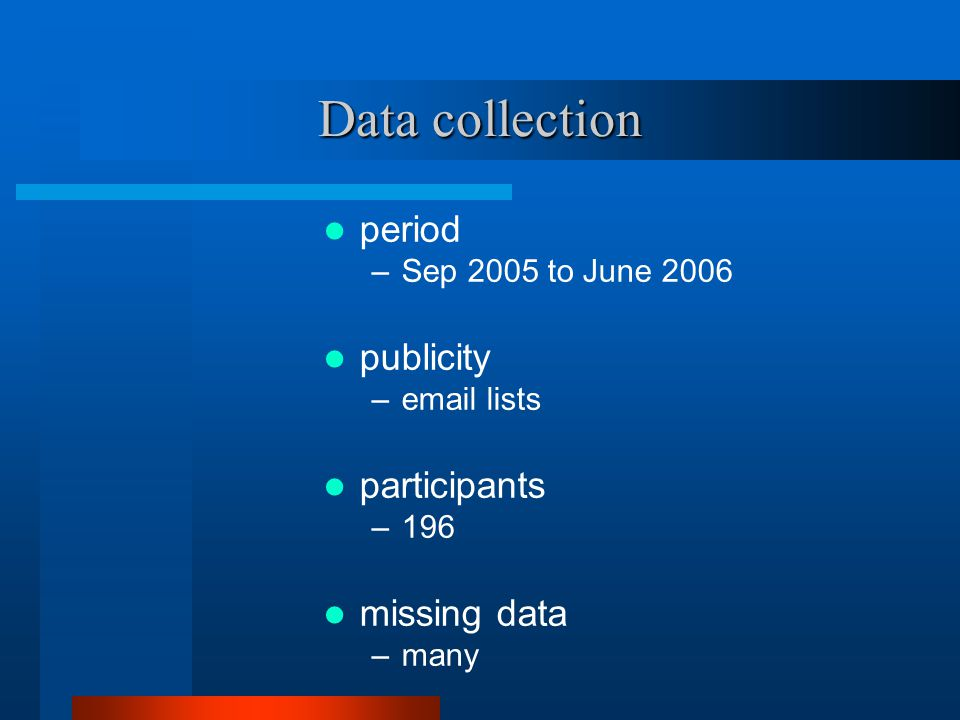 Data collection period –Sep 2005 to June 2006 publicity –email lists participants –196 missing data –many