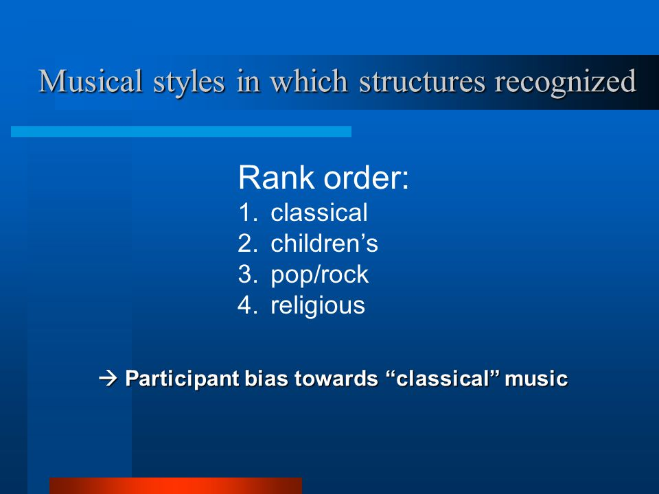 Musical styles in which structures recognized  Participant bias towards classical music Rank order: 1.classical 2.children's 3.pop/rock 4.religious