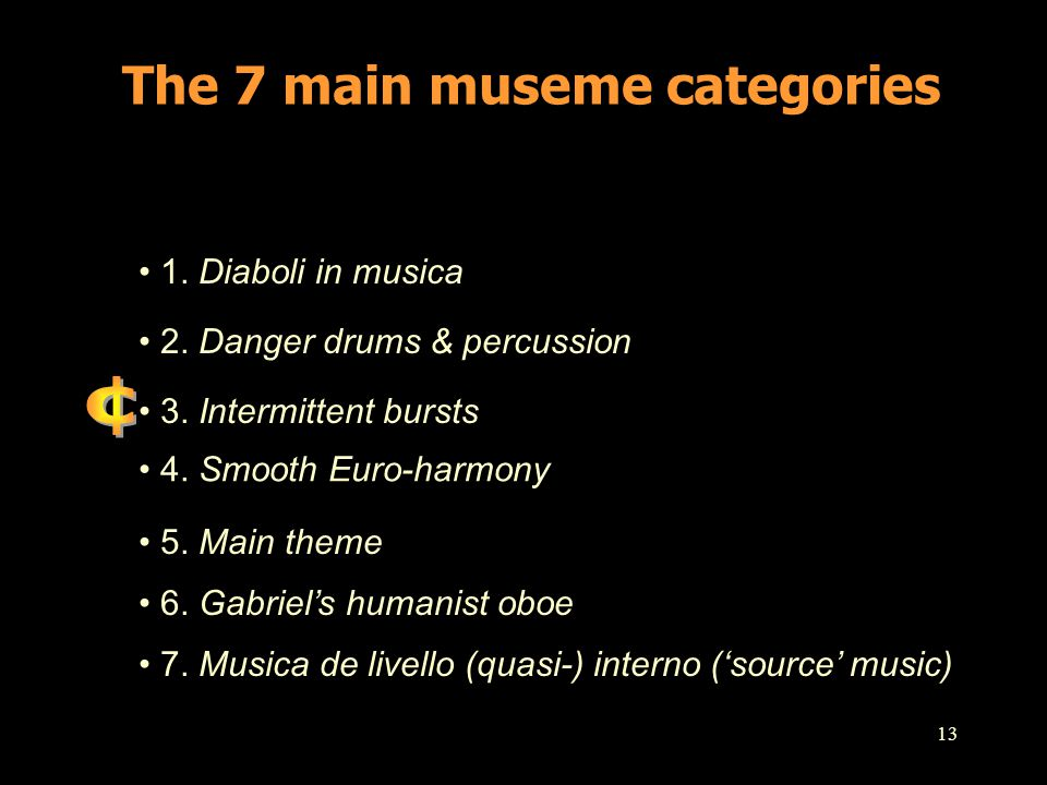 13 The 7 main museme categories 1. Diaboli in musica 2. Danger drums & percussion 3. Intermittent bursts 4. Smooth Euro-harmony 5. Main theme 6. Gabri
