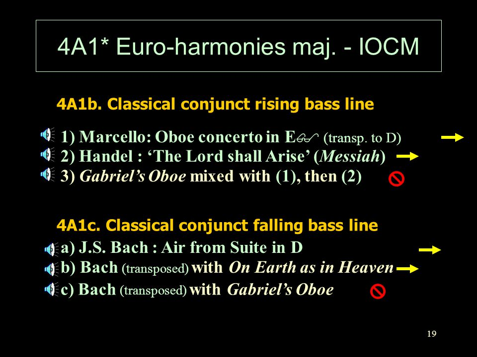 19 4A1* Euro-harmonies maj. - IOCM 4A1b. Classical conjunct rising bass line 1) Marcello: Oboe concerto in E $ (transp. to D) 4A1c. Classical conjunct
