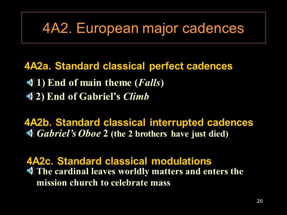 20 4A2. European major cadences 4A2a. Standard classical perfect cadences 1) End of main theme (Falls) 4A2b. Standard classical interrupted cadences 2