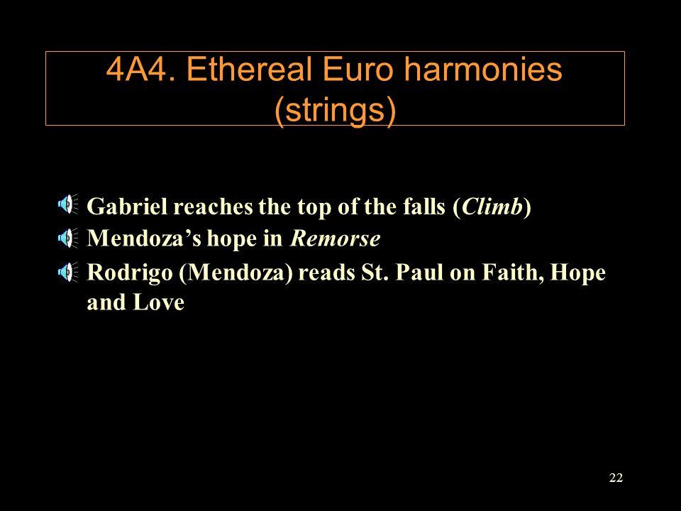 22 4A4. Ethereal Euro harmonies (strings) Gabriel reaches the top of the falls (Climb) Mendoza's hope in Remorse Rodrigo (Mendoza) reads St. Paul on F