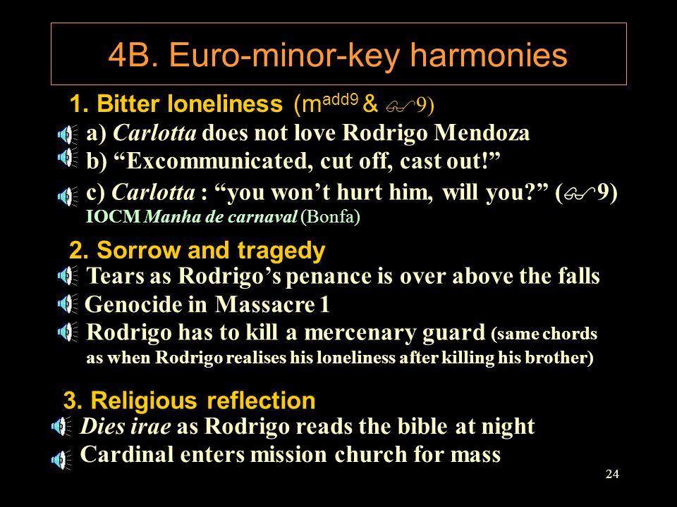 "24 4B. Euro-minor-key harmonies 1. Bitter loneliness (m add9 & $ 9) a) Carlotta does not love Rodrigo Mendoza b) ""Excommunicated, cut off, cast out!"""