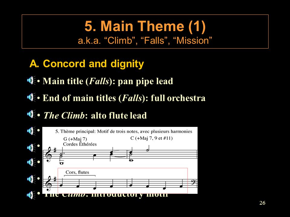 """26 A. Concord and dignity 5. Main Theme (1) a.k.a. """"Climb"""", """"Falls"""", """"Mission"""" Main title (Falls): pan pipe lead End of main titles (Falls): full orch"""