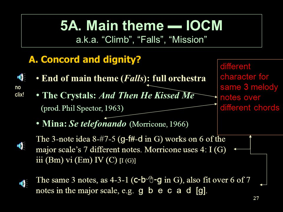 """27 A. Concord and dignity? 5A. Main theme ▬ IOCM a.k.a. """"Climb"""", """"Falls"""", """"Mission"""" End of main theme (Falls): full orchestra The Crystals: And Then H"""