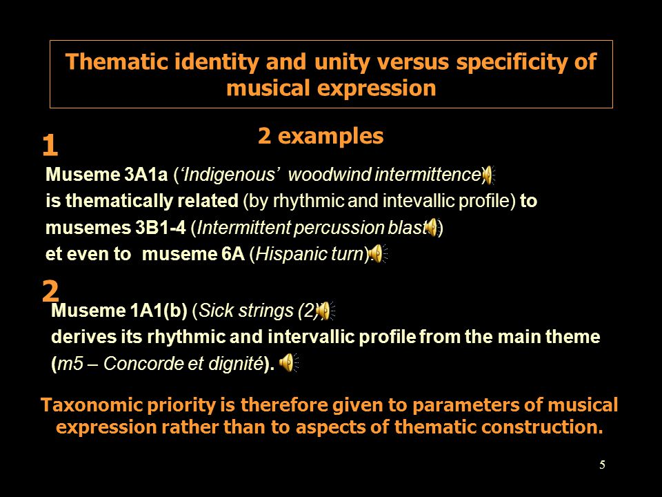 5 Museme 3A1a ('Indigenous' woodwind intermittence) is thematically related (by rhythmic and intevallic profile) to musemes 3B1-4 (Intermittent percus