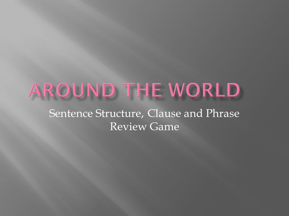 Sentence Structure, Clause and Phrase Review Game