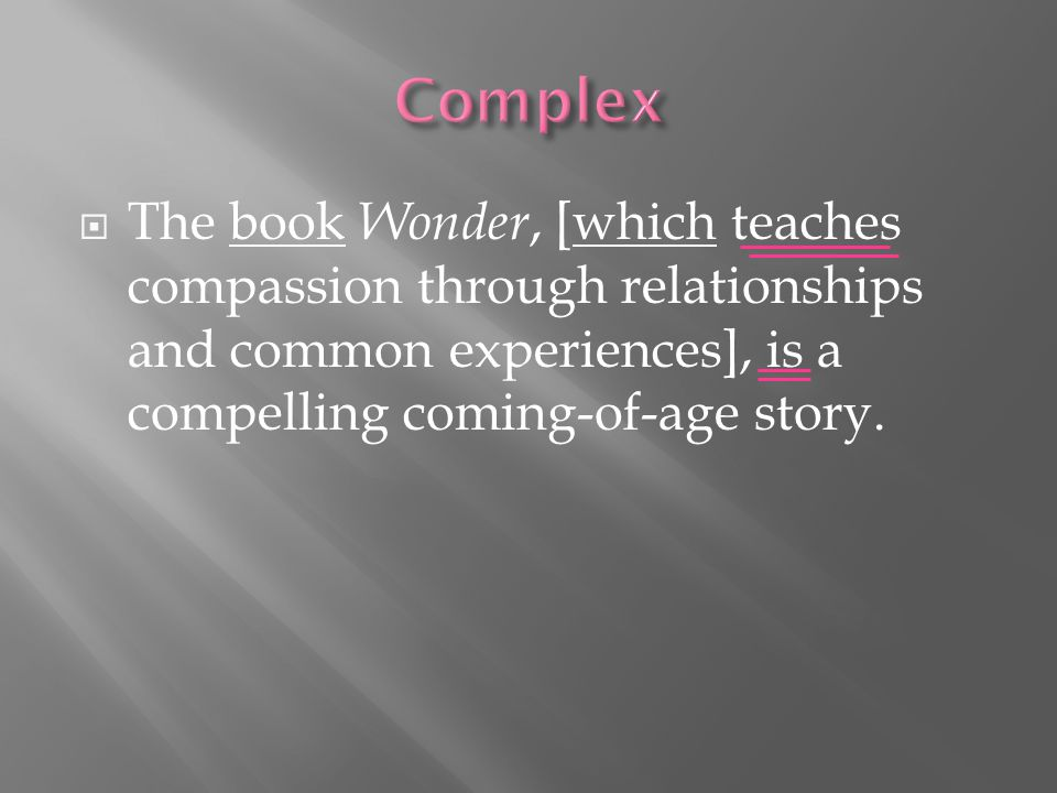  The book Wonder, [which teaches compassion through relationships and common experiences], is a compelling coming-of-age story.