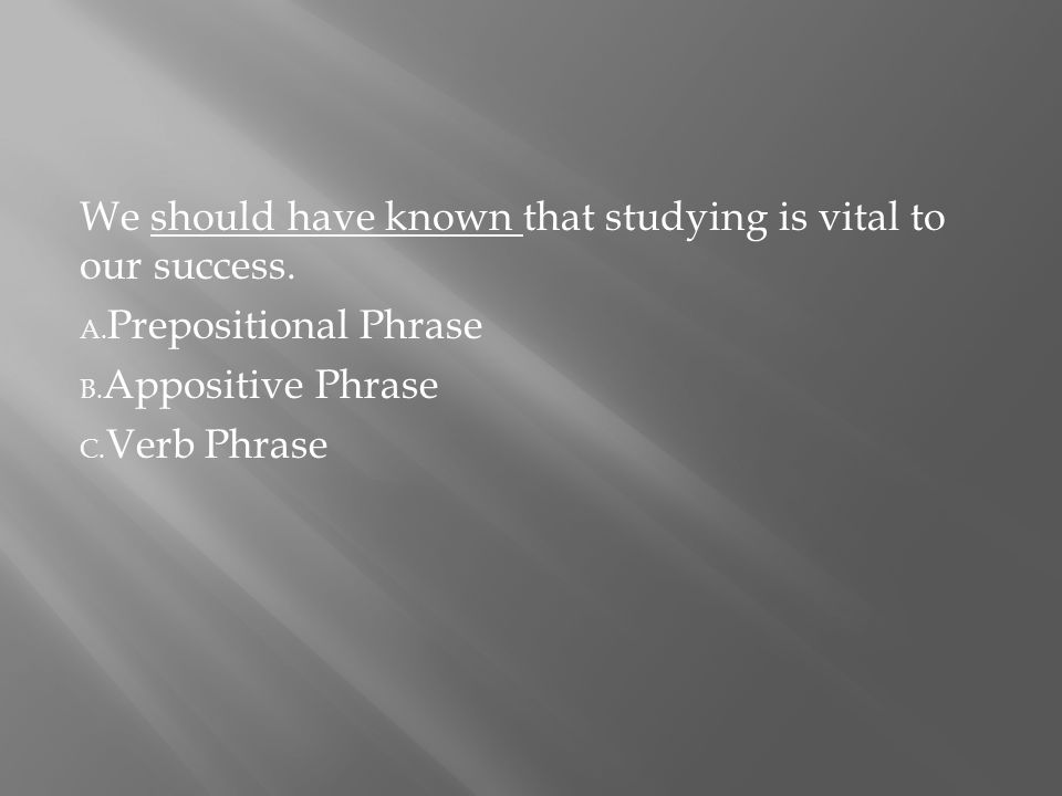 We should have known that studying is vital to our success.